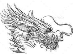 Dragon Head Drawing, Chinese Dragon Drawing, Dragon Head Tattoo, Dragon Tattoo For Women, Japanese Dragon Tattoos, Dragon Artwork, Dragon Tattoo Designs, Chinese Tattoos, Arabic Tattoos