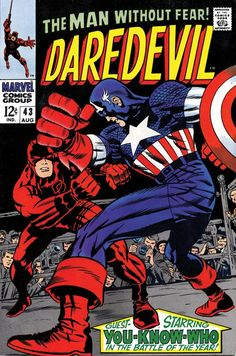 Capt. America versus Daredevil by Jack Kirby (color version)