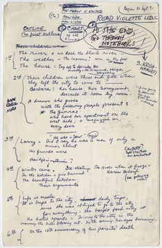 James Salter's outline for his novel Light Years, an extraordinary and poignant portrait of a marriage