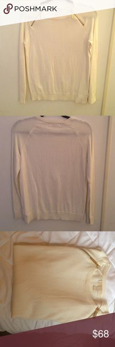 Michael Kors NWOT cream sweater with zip Looks quite luxurious and matches with anything. Never worn, tags removed. 52% cotton, 45% viscose, 3% angora. Makes a wonderful gift for yourself or a friend. Functional gold slippers around collar. Michael Kors Sweaters
