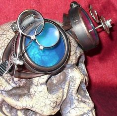 Steampunk Goggles Glasses Magnifying Lens Old R Blue D Rave Biker Motorcycle | eBay