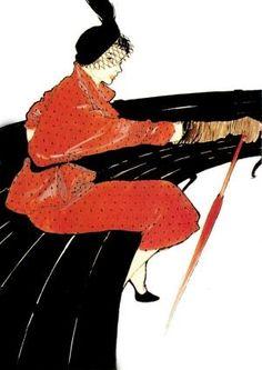 Femme sur un banc - Gruau