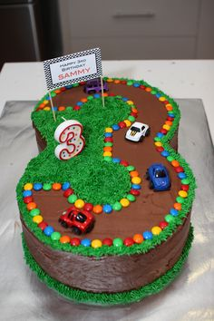 3 Race Track Cake For 3rd Birthday