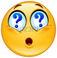 Emoticon with question marks in his eyes photo