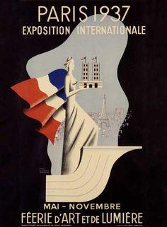 1937 Paris Exposition Vintage Poster