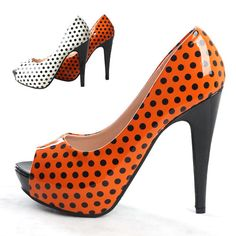 Womens Retro Patent Polka Dot Open Toe High Heels 4.9'' Platform Pump Shoe Shoes  $29.95