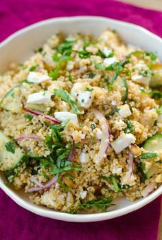 Lunch Recipe: Couscous Salad with Cucumber, Red Onion, & Herbs