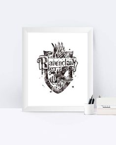 Ravenclaw Crest Black And White Harry Potter Watercolor Harry
