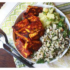A recipe on how to make Harissa paste. Cheese marinated in Harissa and Mango,yum. Paired with Pearl Barley-dill salad and Pineapple Salsa. Barley Salad, Pearl Barley, Paneer Tikka, Grain Salad, Onion Relish, Paneer Recipes, Milk Recipes, Chicken Recipes, Healthy Salad Recipes