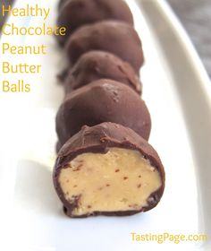 Healthy chocolate peanut butter balls with no added sugar, eggs or flour