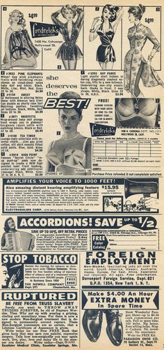 """""""She deserves the best!"""" but she got you, buying lingerie from the back of a cheap magazine. Male November 1961"""