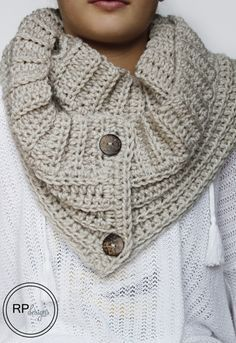The Andy Button Scarf - Free Crochet Pattern by Rescued Paw Designs. Team Scarf or Team Cowl? How about BOTH with this cool pattern! Made with 2 skeins of Vanna's Choice in Linen and a size J (6 mm) crochet hook.
