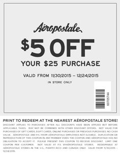 Pinned December 1st: $5 off $25 at Aeropostale #coupon via The #Coupons App