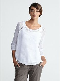 With inspiration from eileenfisher.com Jewel Neck 3/4-Sleeve Box-Top Fine Gauge Linen Ridged Stitch