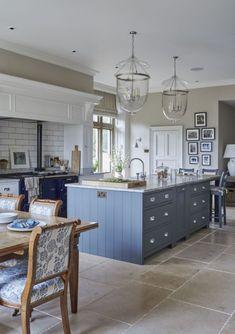 Very pretty kitchen with blue kitchen island Sims Hilditch Interior Design - New Forest Manor House New Interior Design, Apartment Interior Design, Kitchen Interior, Kitchen Decor, Kitchen Ideas, Design Interiors, Interior Decorating, Simple Interior, Kitchen Inspiration