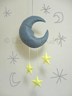 MR SLEEPY MOON and Stars Mobile - Grey Moon & Lemon Stars Mobile Baby Nursery Kids Bedroom Home Decoration via Etsy
