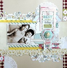 Designer Emeline Seet's GORGEOUS layout is just another reason to love Plum Seed. Love the layering and the diecut borders.
