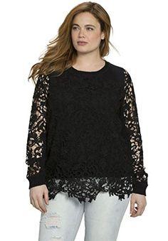Roamans Womens Plus Size Crochet Lace Pullover Black3032 ** BEST VALUE BUY on Amazon  #ClassicCrochetWear