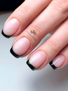 Black Nails Short, Black Nail Tips, Short French Nails, Pink Black Nails, Black French Nails, Short Nails Art, French Tip Nails, Gel French, Chrome Nails Designs