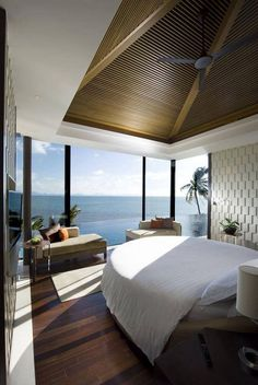 Modern tropical, painted beds, home design plans, tropical bedrooms, coa Tropical Bedrooms, Coastal Bedrooms, Modern Bedroom, Guest Bedrooms, Luxury Bedrooms, Seaside Bedroom, Dream Bedroom, Trendy Bedroom, Cozy Bedroom