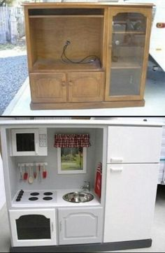 """Ok, this is just way cool! Creative idea for that ugly """"back in day"""" entertainment center. LOVE IT!"""