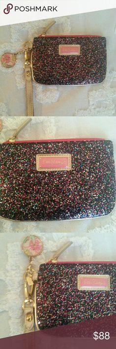 Lilly Pulitzer Glitter Wristlet Beautiful and super cute wristlet with Black Confetti Glitter Textured bag. Lilly Pulitzer Bags Clutches & Wristlets