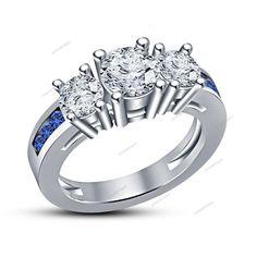 2.75Ct Sapphire & VVS1 White Diamond 14k White Gold FN 925 Silver Women's…