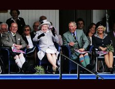 Queen Elizabeth II, The Duke of Edinburgh, The Prince of Wales and Camilla, Duchess of Cornwall attending the Braemar Highland Games in 2006.