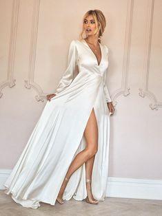 Silk Formal Dress, White Silk Dress, Formal Dresses With Sleeves, Dresses Uk, Dress Name, Dress Out, Wrap Wedding Dress, Wedding Dresses, Wrap Dress