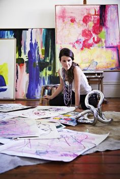 "The purple & blk painting | Ali McNabney-Stevens, at work in her studio.  (her motto:""art without the snobbery"")"