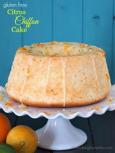 Filled with lemon, lime, and orange zest, this Gluten Free Citrus Chiffon Cake is a ray of sunshine on an otherwise cloudy day. Gluten Free Sweets, Gluten Free Cakes, Gluten Free Baking, Gluten Free Recipes, Keto Recipes, Patisserie Sans Gluten, Healthy Dessert Recipes, Cake Recipes, Delicous Desserts