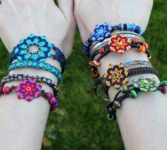 Flower bracelet macrame mandala boho hippie blue aqua violet | Etsy Cotton String, Aqua, Turquoise, Flower Bracelet, Flower Mandala, Hippie Boho, Jewelry Crafts, Boho Fashion, Trending Outfits