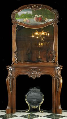Antique French Fireplace Mantel & Trumeau in Walnut with Mirror and Painting
