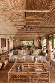 See all our stylish living room design ideas on HOUSE - design, food and travel by House & Garden, including a redesigned bamboo house on the Caribbean island of Mustique Rest House, House In The Woods, Rural House, Tiny House, Interior Tropical, Rattan, Wicker, Bamboo House Design, Tropical House Design