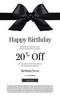 Flannels Birthday Email, Birthday Rewards, Birthday Month, Happy Birthday, Email Design Inspiration, Email Templates, Flannels, Lets Celebrate, Banner Design