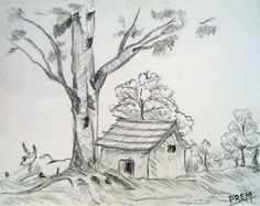 Simple Pencil Drawings Of Houses Simple House Landscape Sketch