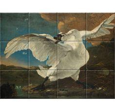 Jan Asselijn The Threatened Swan, oil on canvas, 144 x 171 cm. Tile Panels, Tile Murals, Decorative Tile, Rembrandt, Art Reproductions, High Gloss, Swan, Oil On Canvas, Tiles