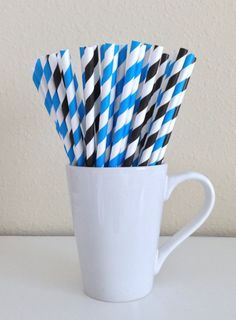 Paper Straws - 25 Blue and Black and White Striped Party Straws Birthday Wedding Baby Shower Bridal Shower Graduation