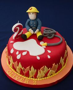 Fireman Sam Firefighter Birthday Cakes, Fireman Birthday, Cupcakes, Cupcake Cakes, Choc Drip Cake, Fire Engine Cake, Fireman Sam Cake, Fire Cake, Fire Fighter Cake