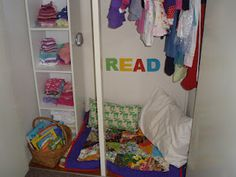 Using the wasted space at the bottom of a kid's wardrobe for a book nook!
