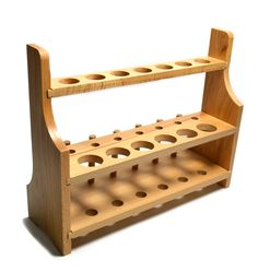 Laboratory Wood Test Tube Rack, 13 Hole, 6 Pin - 2 Shelves, Hole Size 20mm Lower - 26mm Upper - For tall test tubes or stirrers - No Tip Design