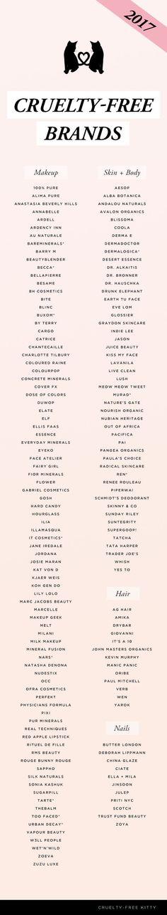 Updated cruelty-free brand list of 2017