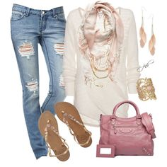 rose and distressed denim