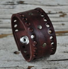 Drifter Brown Leather Cuff by Northernleather on Etsy, $24.95