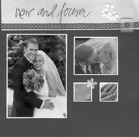 Now and Forever.add color with the small flowers Scrapbook Sketches, Scrapbook Page Layouts, Scrapbook Albums, Scrapbook Cards, Scrapbooking Ideas, Wedding Book, Wedding Cards, Wedding Albums, Wedding Scrapbook Pages