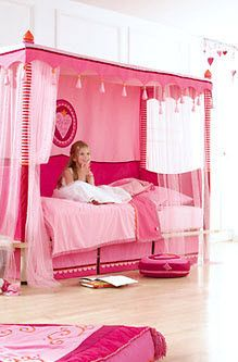 kids canopy bed (girls) PIA HABA... This reminds me of the bedtime story my mom used to tell me about the little girl with the pink bedroom :) @Jamie Skodack