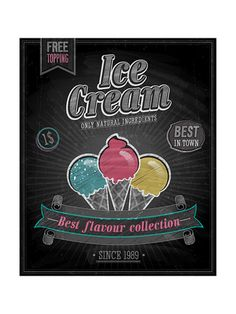 Vintage Ice Cream Poster - Chalkboard by avean