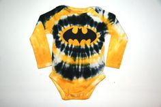 Boys Tie Dye Batman Baby Long Sleeve Onesie by HalfPintTieDye, $12.00