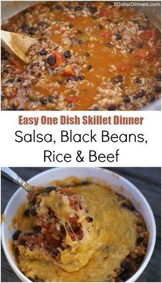 Salsa, Black Beans, Rice & Beef ~ an easy one dish skillet dinner | 5DollarDinners.com