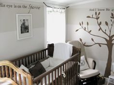 for the nursery - neutral colors and horizontal stripes. Also, the font of the lyrics on the wall.